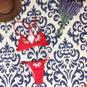 Other - Sexy RED String Bikini Set with Scrunch Bottom
